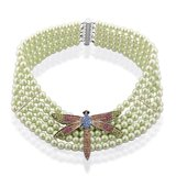 New Dragonfly on Green Glass Pearls Elegant Necklace - Never worn in Fort Rucker, Alabama