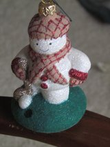 Designer Snowman Golfer Ornament in New Lenox, Illinois