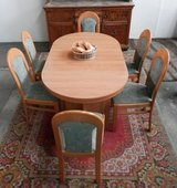 6 to 12 Seat Extendable Diningroom Table with 6 Chairs and 4 leaves. in Ramstein, Germany