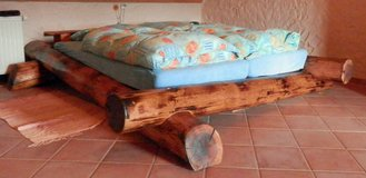Hand Made Real Log Bed, Made of 4 Trees Cut, Burned and Clearcoated in Ramstein, Germany