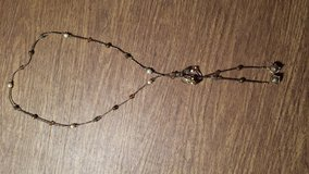 REDUCED Handmade Beaded Lariat Necklace with semi-precious stones in Champagne and bronze in Lockport, Illinois
