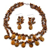 New Tiger's Eye Necklace w.matching earrings - Never worn in Fort Rucker, Alabama