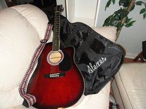Alexes Accoustic Guitar, Strap, and Case in Eglin AFB, Florida